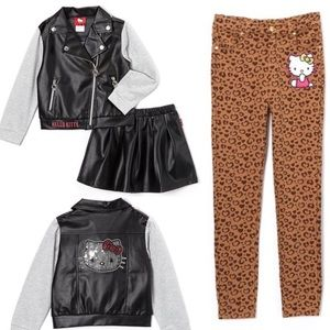 NWT Hello Kitty Faux Leather Jacket & Skirt +Pants